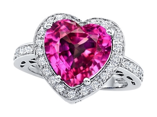 Star K Large 10mm Heart Shape Created Pink Sapphire Wedding Ring