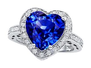 Star K Large 10mm Heart Shape Simulated Tanzanite Wedding Ring