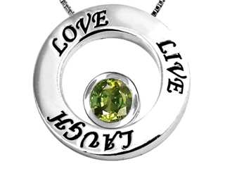 Star K Live/Love/Laugh Circle of Life Pendant Necklace with Round 7mm Simulated Green Tourmaline