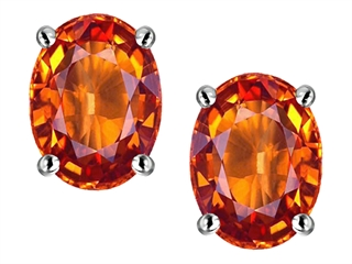 Star K Oval 8x6mm Simulated Orange Mexican Fire Opal Earrings Studs