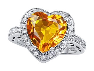 Star K Large 10mm Heart Shape Simulated Citrine Wedding Ring
