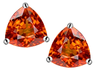 Star K Trillion 7mm Simulated Orange Mexican Fire Opal Earrings Studs