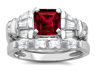 Star K™ 6mm Square Cut Created Ruby Wedding Set thumbnail