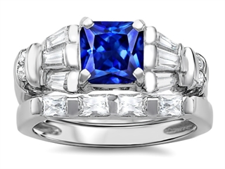 Original Star K™ 6mm Square Cut Created Sapphire Wedding Set thumbnail