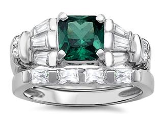 Original Star K™ 6mm Square Cut Simulated Emerald Wedding Set thumbnail