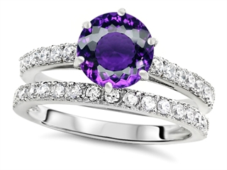 Star K Round 7mm Simulated Amethyst Wedding Ring