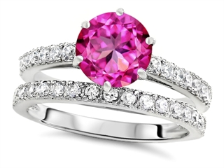 Star K Round 7mm Created Pink Sapphire Wedding Ring