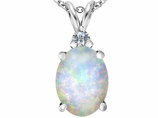 Star K Large 14x10mm Oval Created Opal Pendant Necklace