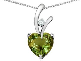 Star K Heart Shape 8mm Simulated Green Tourmaline Pendant Necklace