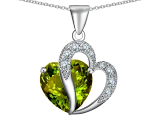 Star K Large 12mm Simulated Green Tourmaline Heart Pendant Necklace with Sterling Silver Chain