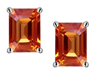 Star K 8x6mm Emerald Cut Simulated Orange Mexican Fire Opal Earrings