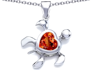 Star K Large 10mm Heart Shape Simulated Orange Mexican Fire Opal Sea Turtle Pendant Necklace