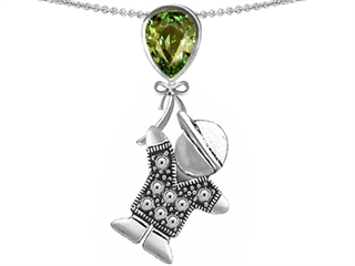 Star K Boy Holding a Balloon Mother Birth Month Pear Shape Simulated Green Tourmaline Pendant Necklace