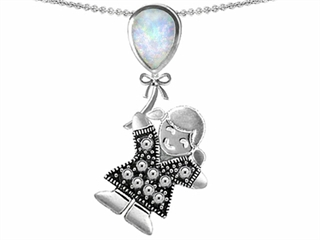 Star K Girl Holding a Balloon Mother October Birth Month Pear Shape Created Opal Pendant Necklace