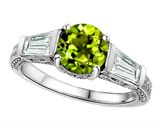 Star K Round 7mm Simulated Green Tourmaline Ring
