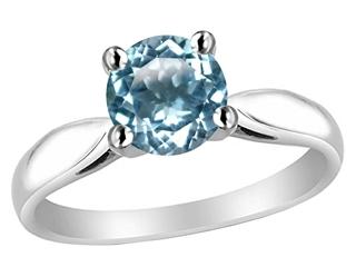 Star K 7mm Round Simulated Aquamarine Ring