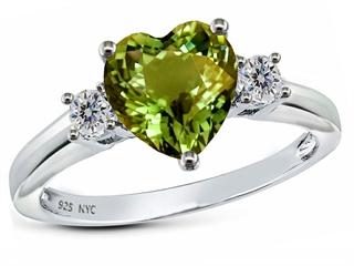 Star K 8mm Heart Shape Simulated Green Tourmaline Ring