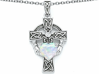 Star K Claddagh Cross Pendant Necklace with 7mm Heart Shape Created Opal