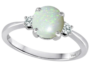 Tommaso Design 7mm Round Genuine Opal Classic 3 stone Engagement Ring