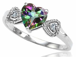 Tommaso Design Rainbow Mystic Topaz Heart Shape Engagement Promise Ring