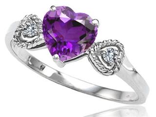 Tommaso Design Genuine Amethyst Heart Shape Engagement Promise Ring