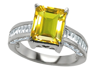 Star K 10x8mm Emerald Cut Simulated Citrine Ring