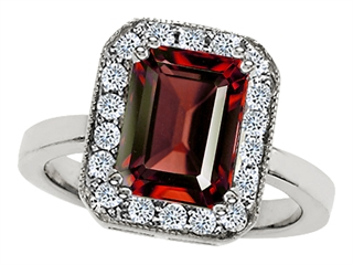 Star K 10x8mm Emerald Cut Simulated Garnet Ring