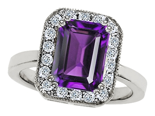Star K 10x8mm Emerald Cut Simulated Amethyst Ring