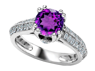 Star K Round Simulated Amethyst Ring