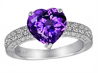 Star K 8mm Heart Shape Simulated Amethyst Ring