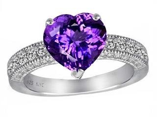 Original Star K 8mm Heart Shape Simulated Amethyst Ring