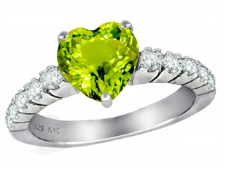 Star K 8mm Heart Shape Simulated Peridot and Cubic Zirconia Ring
