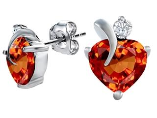 Star K 8mm Heart Shape Simulated Orange Mexican Fire Opal Heart Earrings