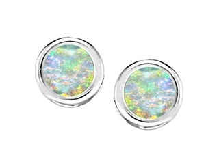 Star K Bezel Set Round 5mm Created Opal Earrings Studs