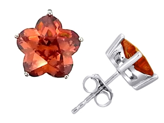 Star K Fancy Flower Shape Star Earrings Studs with Simulated Orange Mexican Fire Opal