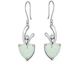 Star K 8mm Heart Shape Created Opal Hanging Hook Love Earrings