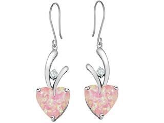 Star K 8mm Heart Shape Pink Created Opal Hanging Hook Love Earrings
