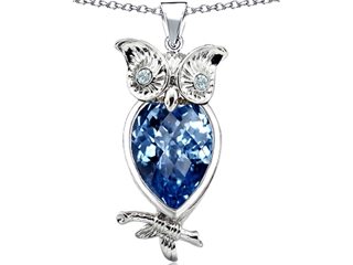 Star K Good Luck Owl Pendant Necklace with Pear Shape Simulated Blue Topaz