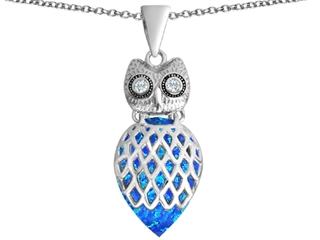 Star K Good Luck Owl Pendant Necklace with Pear Shape Blue Created Opal