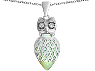 Star K Good Luck Owl Pendant Necklace with Pear Shape Created Opal
