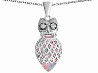 Star K Good Luck Owl Pendant Necklace with Pear Shape Pink Created Opal