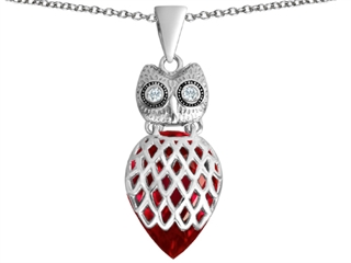 Star K Good Luck Owl Pendant Necklace with Pear Shape Created Ruby