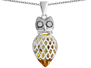 Star K Good Luck Owl Pendant Necklace with Pear Shape Simulated Citrine
