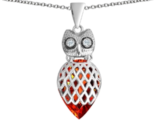 Star K Good Luck Owl Pendant Necklace with Pear Shape Simulated Orange Mexican Fire Opal
