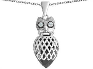 Star K Good Luck Owl Pendant Necklace with Pear Shape Simulated Black Onyx