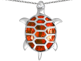 Star K Good Luck Turtle Pendant Necklace with Oval Simulated Orange Mexican Fire Opal