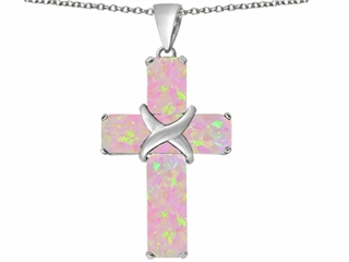 Star K Large Christian Cross Pendant Necklace with Emerald Cut Pink Created Opal Stones