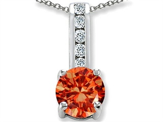 Star K Round 7mm Simulated Orange Mexican Fire Opal Pendant Necklace