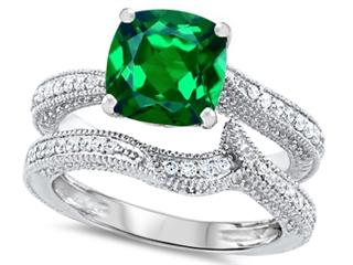 Original Star K™ 7mm Cushion Cut Simulated Emerald Wedding Set thumbnail