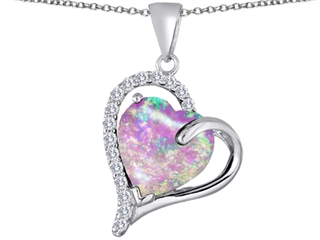 Star K Heart Shape 12mm Pink Created Opal Double Heart Love Pendant Necklace